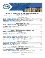 ALA Award Winners 2016