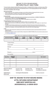Return Policy and Form