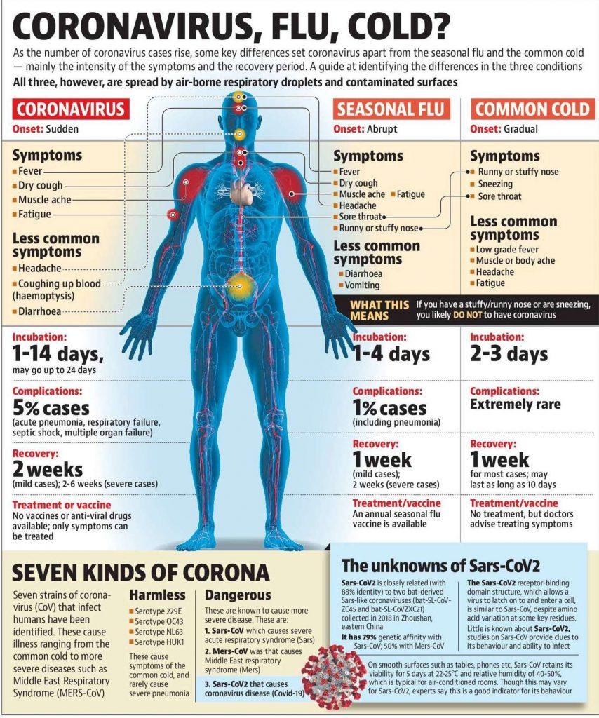 Coronavirus, Flu, Cold Symptoms graphic