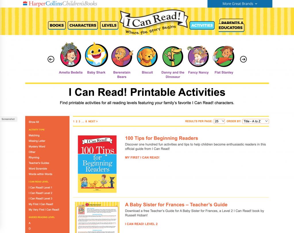 Harper Collins Children's Books I Can Read Web Site
