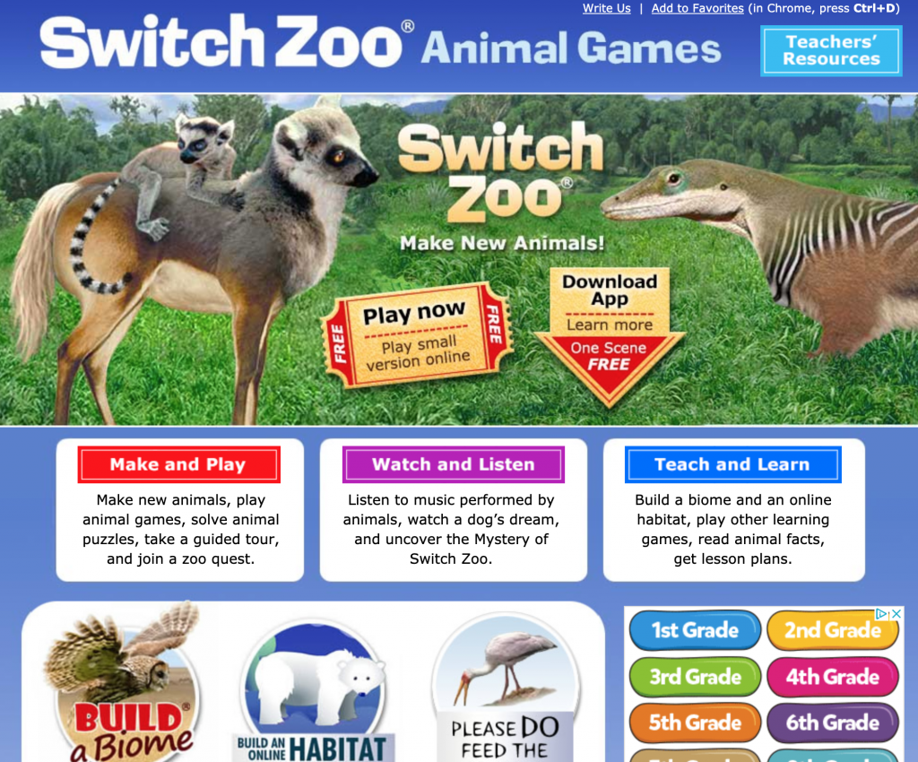 SwitchZoo Animal Games Web Site