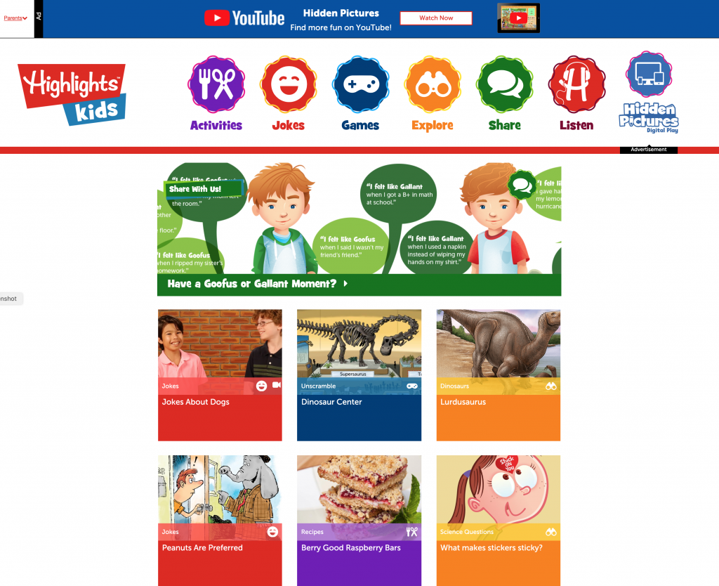 Highlights Kids Web Site
