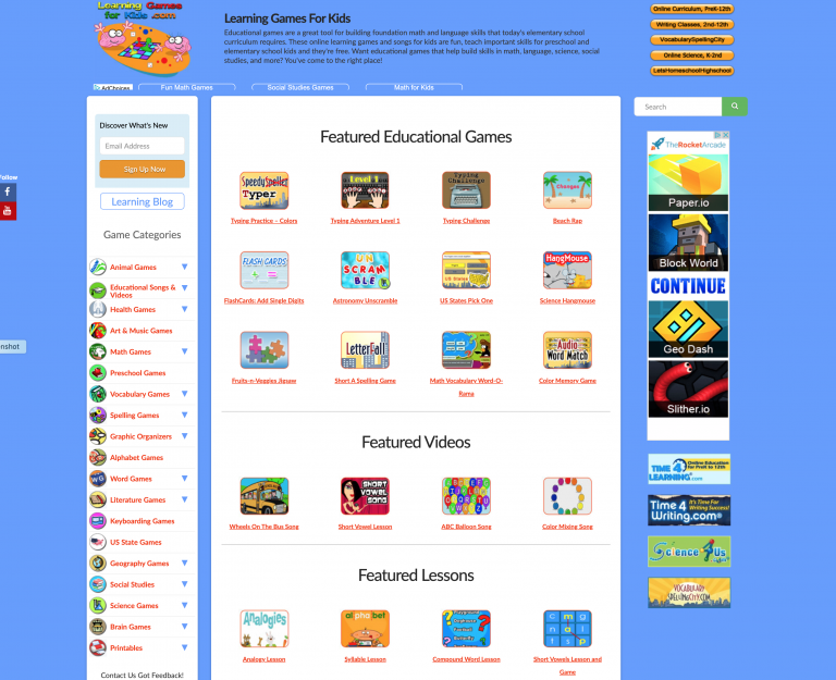 Learning Games for Kids Web Site