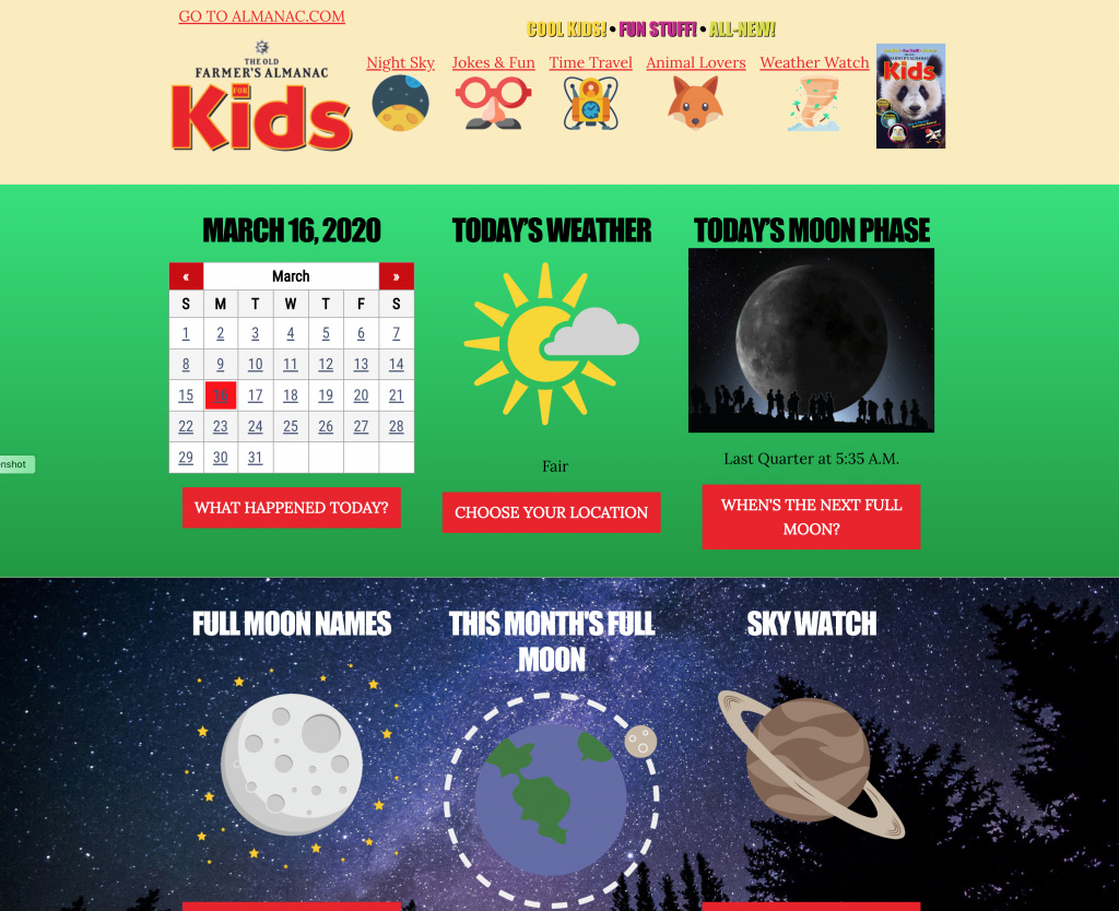 Old Farmer's Almanac for Kids Web Site