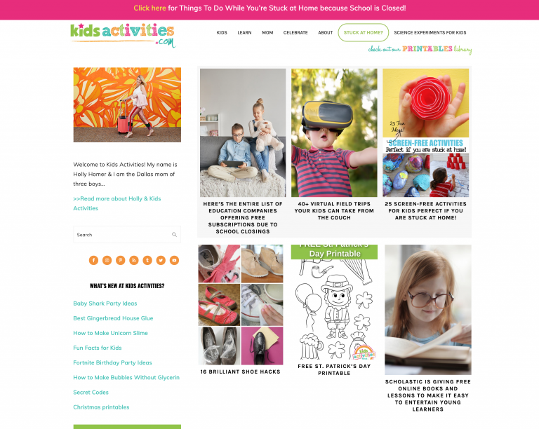 Kids Activities Web Site