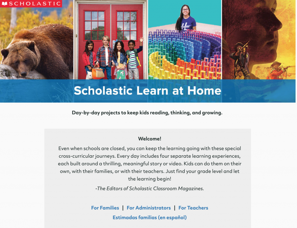Scholastic Learn At Home Web Page