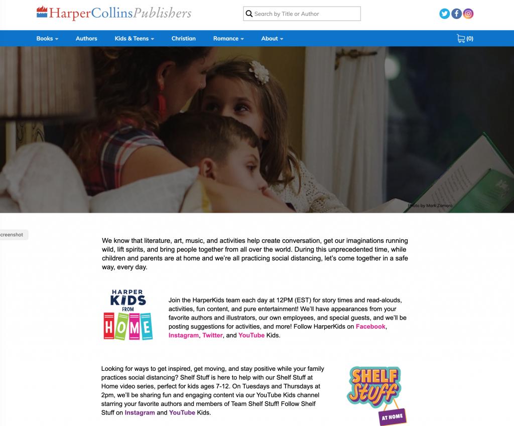 Harper Collins Publishers Web Page