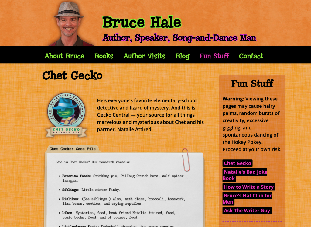 Bruce Hale Chet Gecko Fun Stuff Web Site