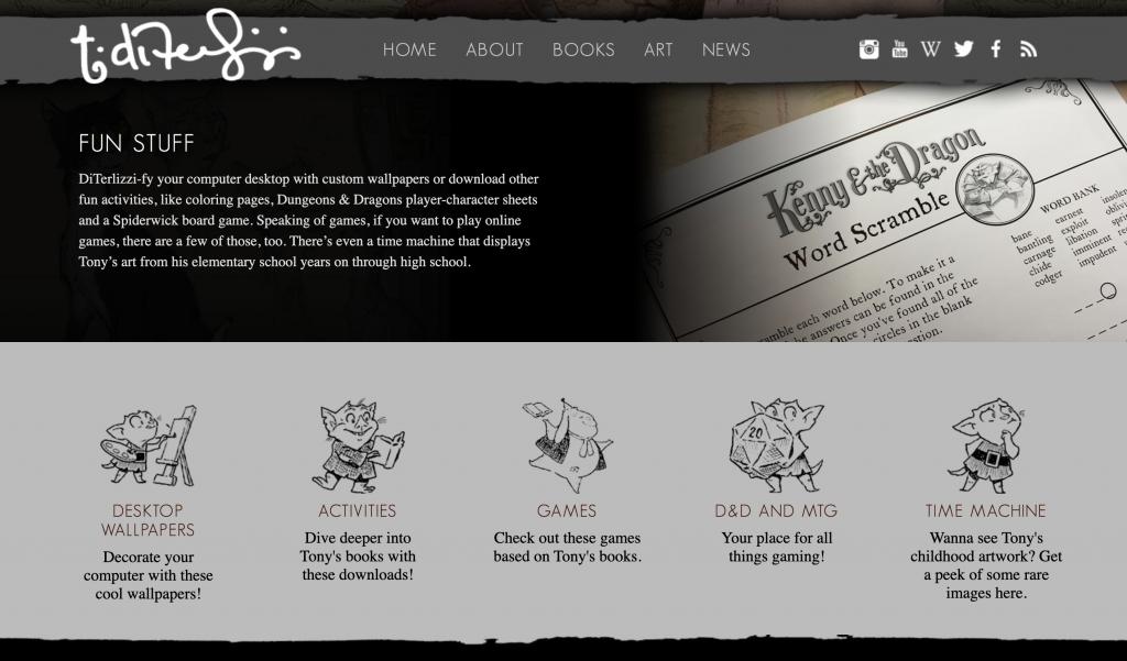 Tony DiTerlizzi Fun Stuff Games Web Site