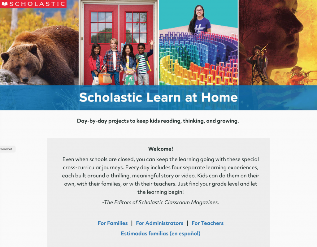 Scholastic Learn At Home Web Site