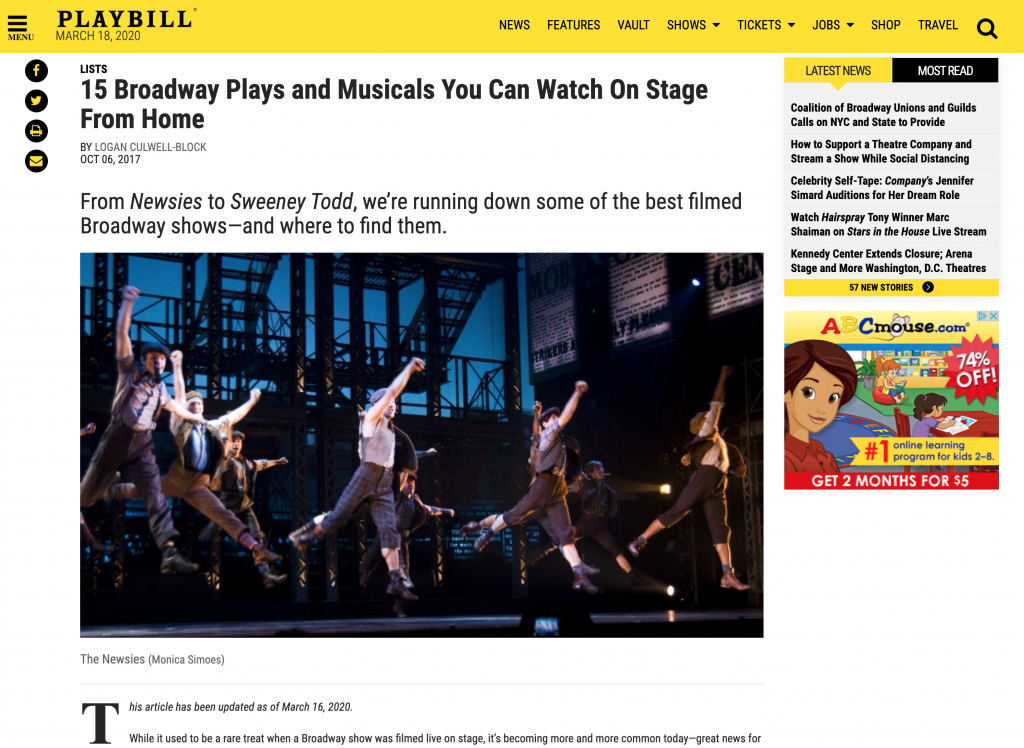 Playbill 15 Broadway Plays and Musicals you can watch