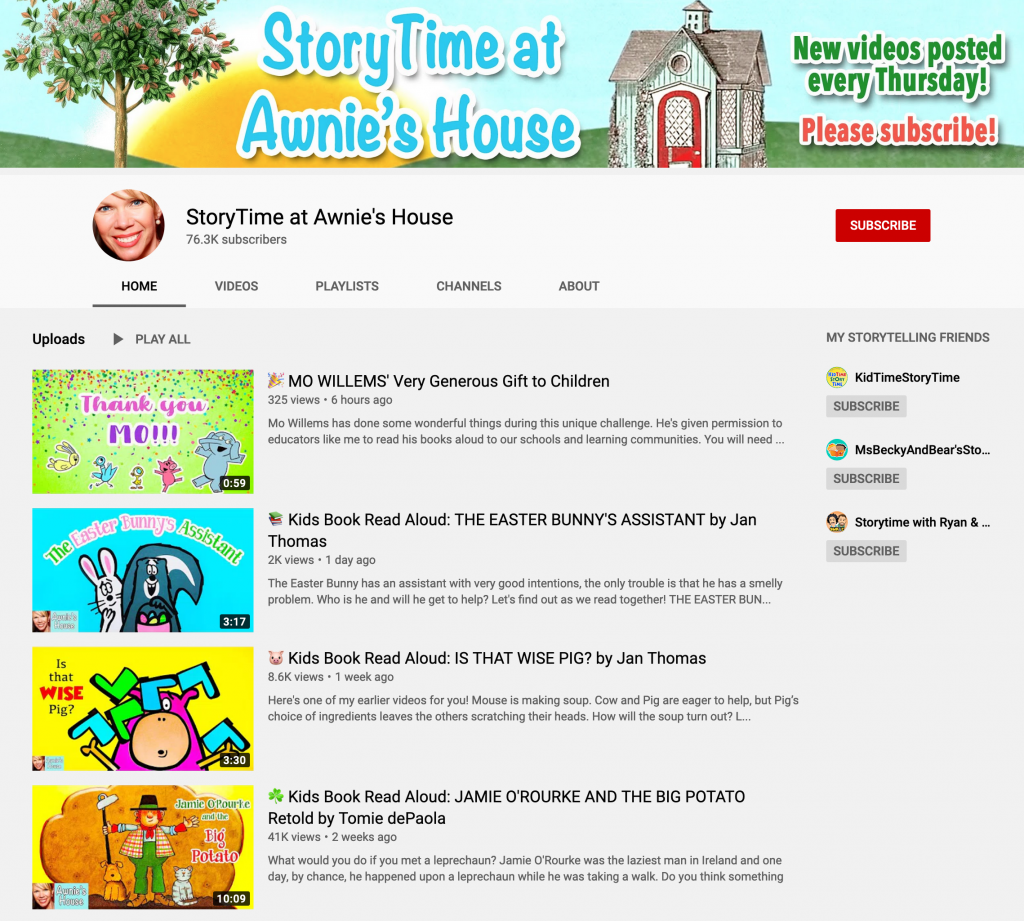 StoryTime at Awnie's House Web Site