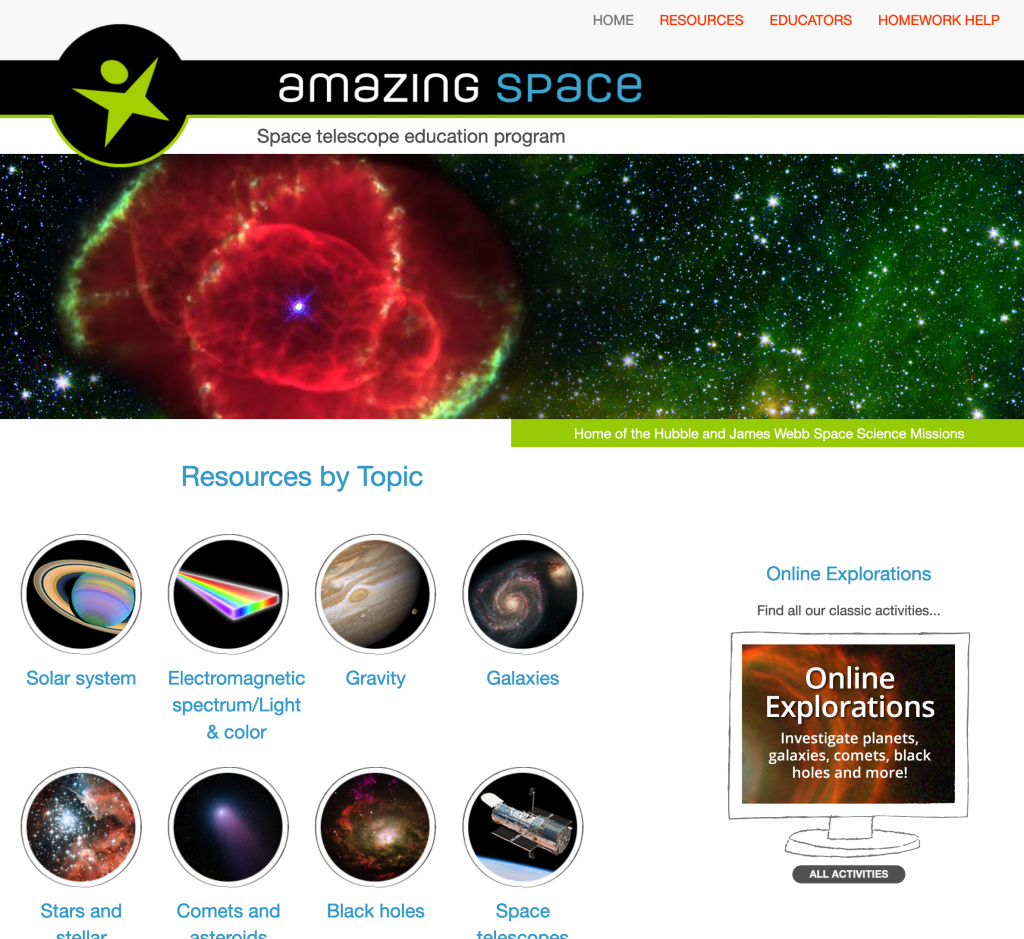 Amazing Space Web Page