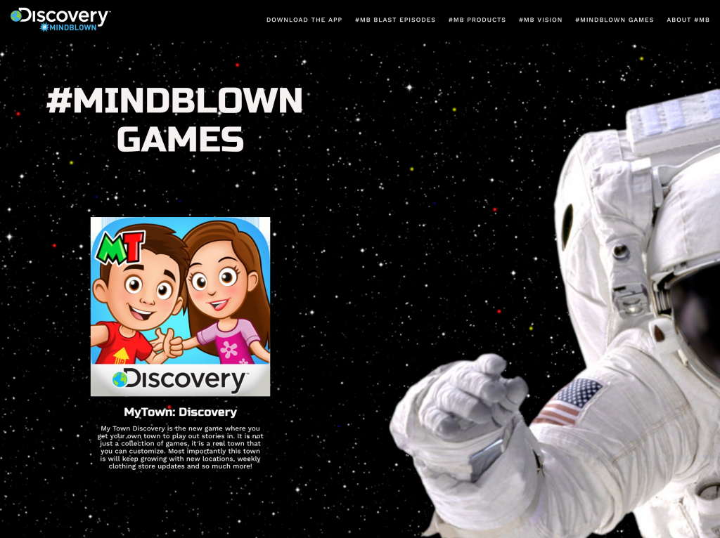 Discovery MindBlown Games Web Page