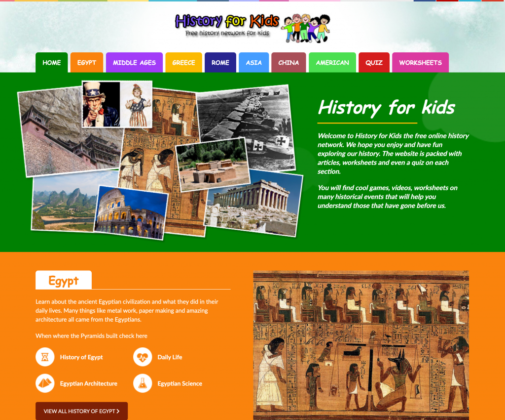 History for Kids Web Page