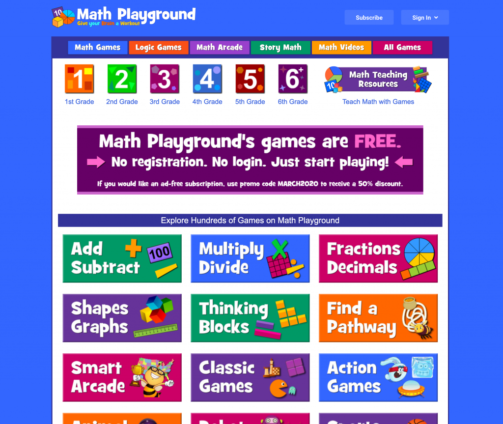 Math Playground Web Page