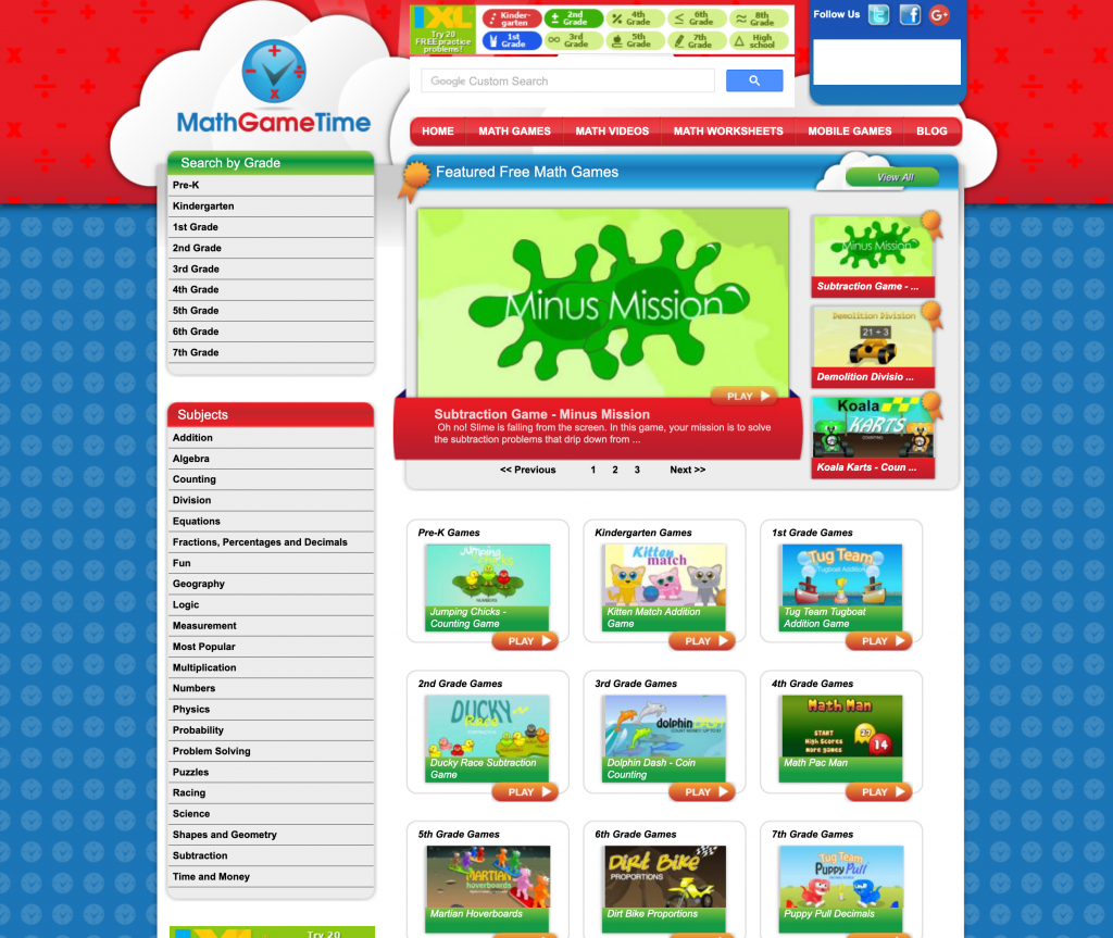 Math Game Time Web Page