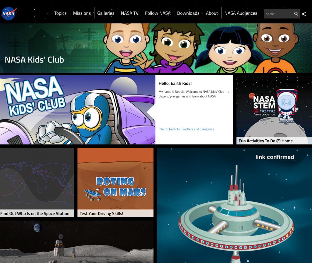 NASA Kids Club Web Page