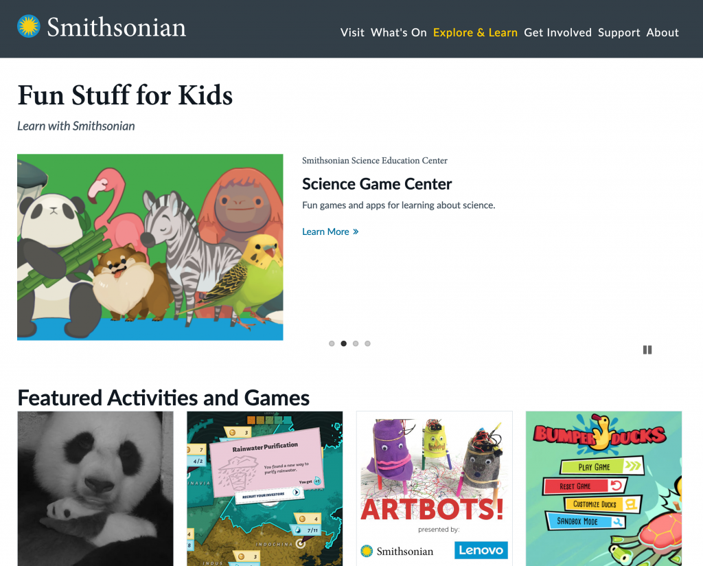 Smithsonian For Kids Web Page