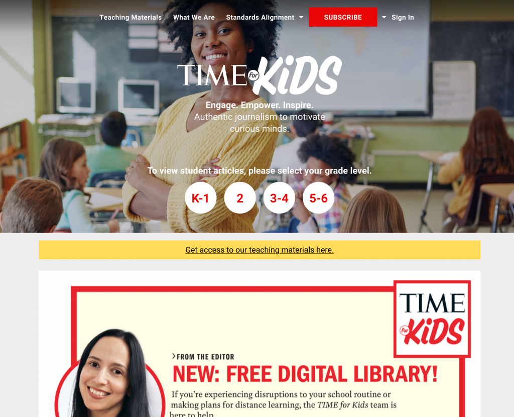 TIME for Kids Web Page