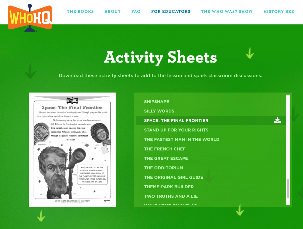WHO HQ Activity Sheets on the Web