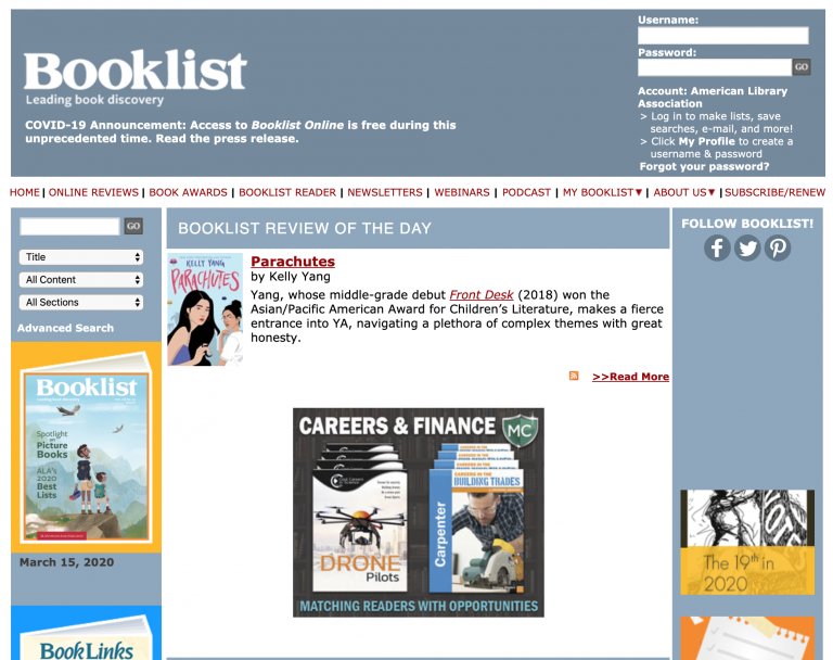 Booklist Web Page