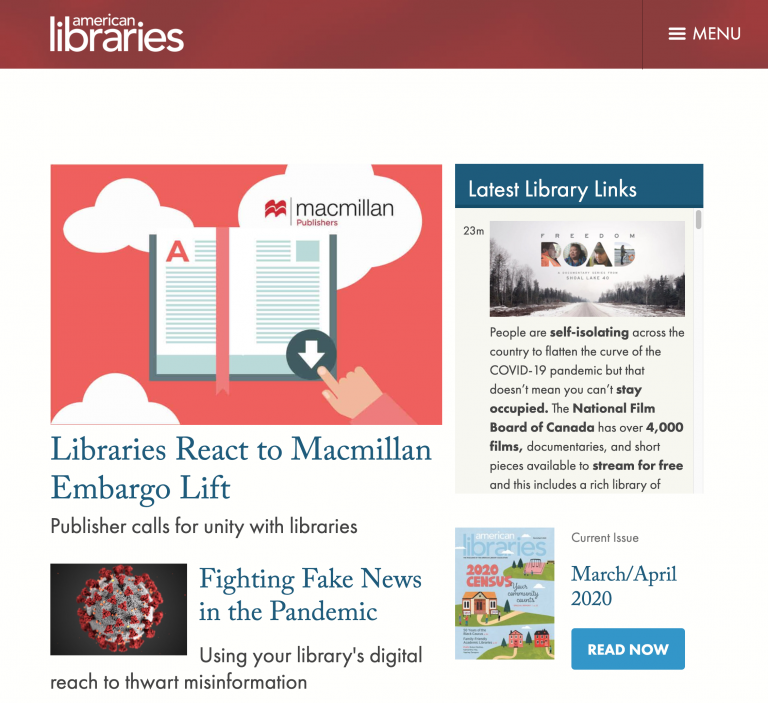 American Libraries Web Page