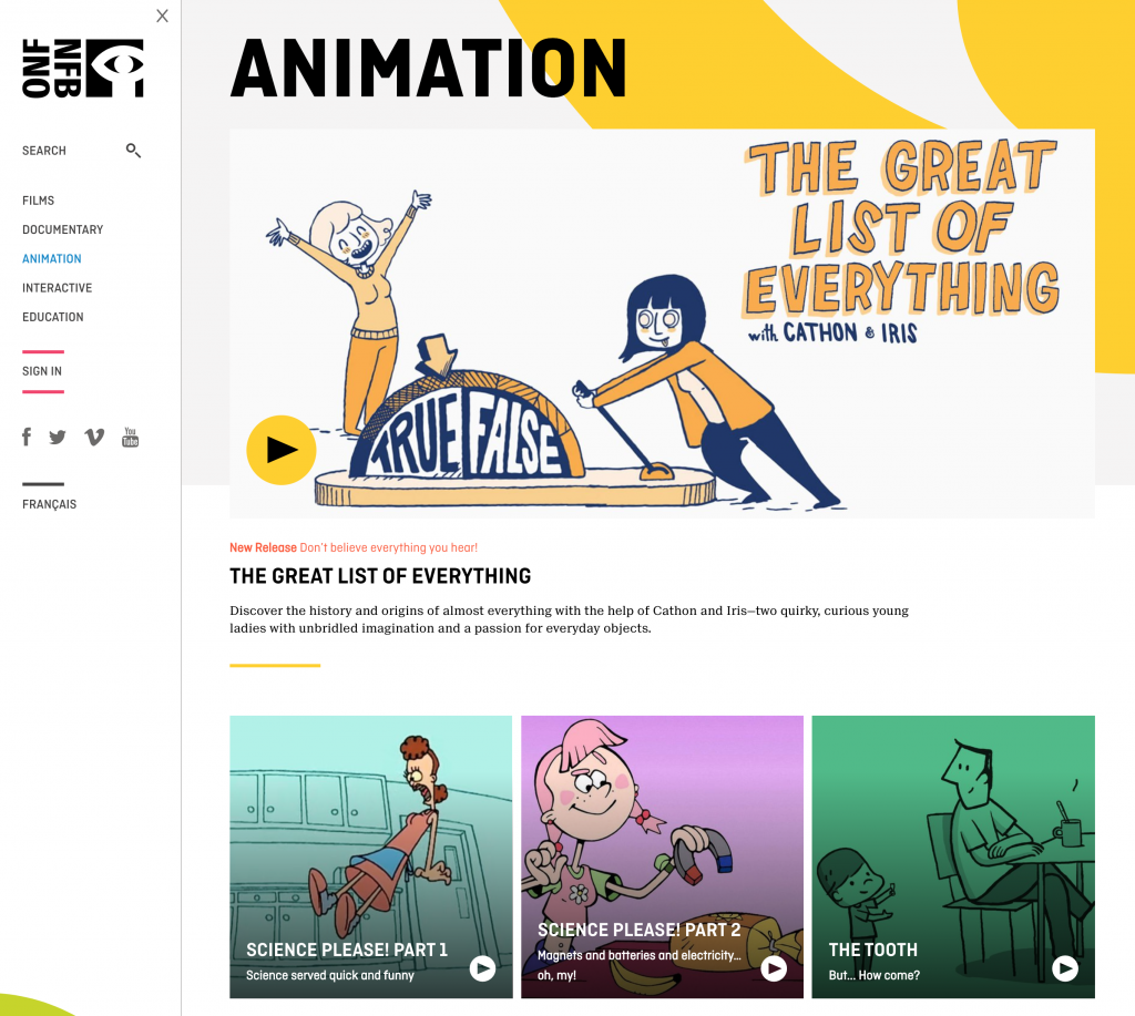 National Film Board Animation Web Page