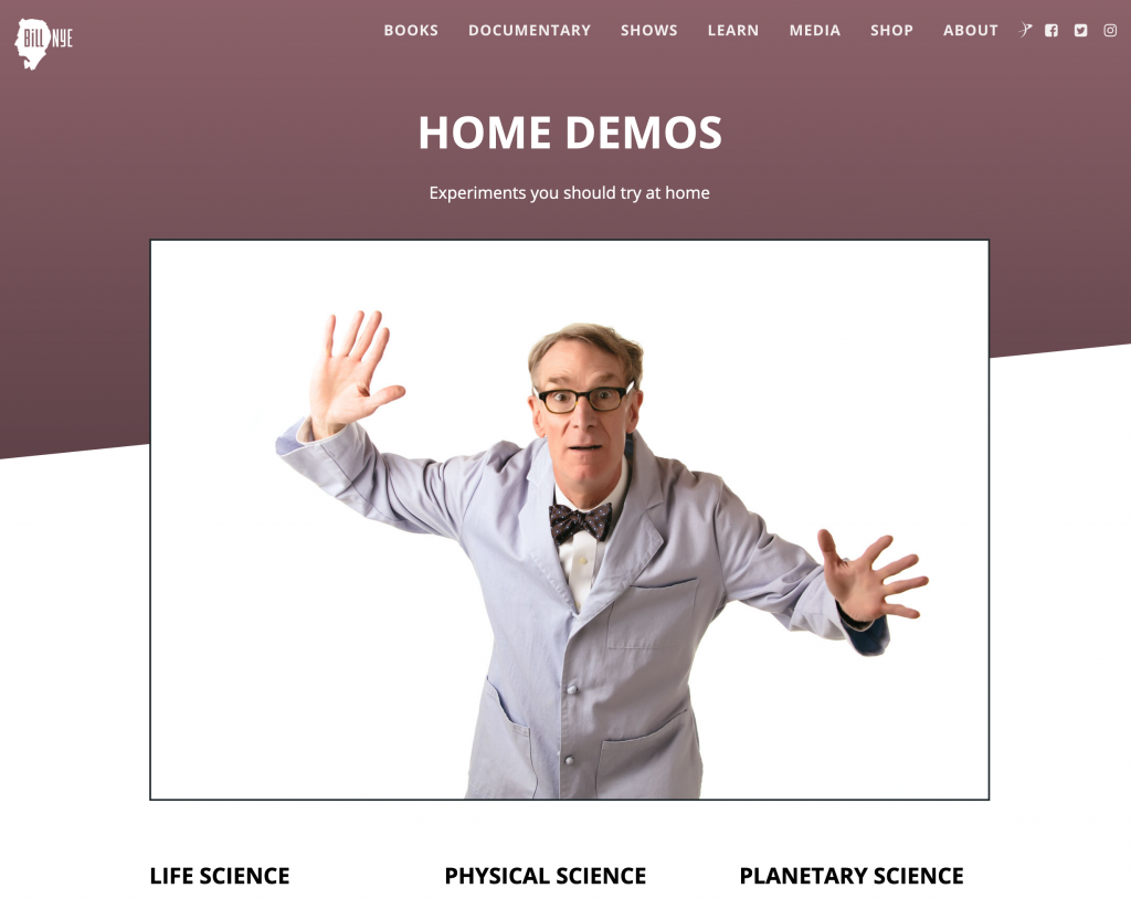 Bill Nye Science Guy Web Page