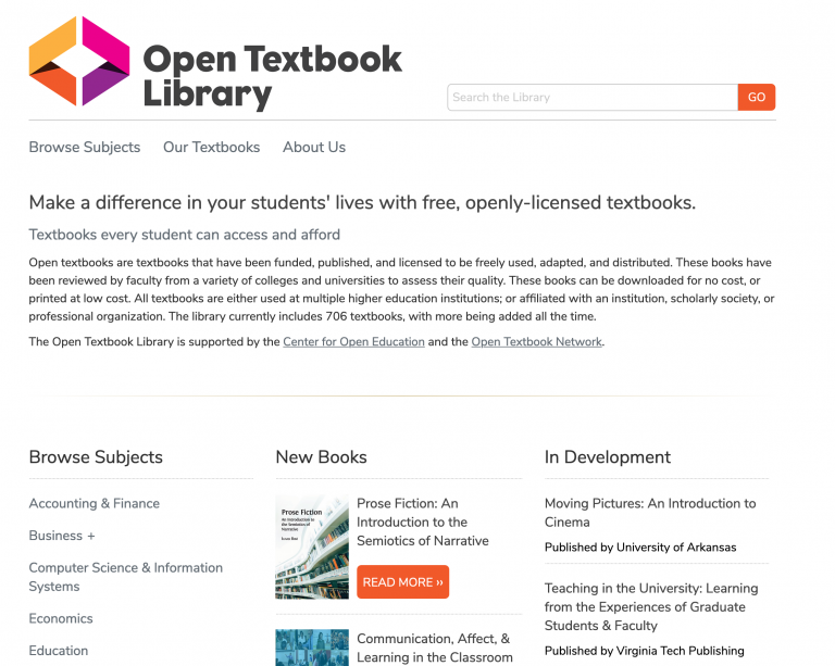 Open Textbook Library Web Page